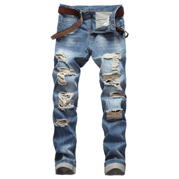 Casual Zipper Fly Ripped Straight Jeans - WINDOWS BLUE 34