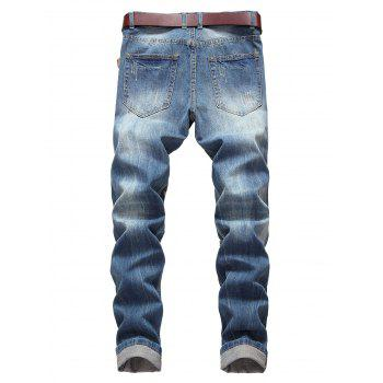 Casual Zipper Fly Ripped Straight Jeans - WINDOWS BLUE 36
