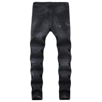 Side Zipper Ripped Hole Skinny Jeans - BLACK 38