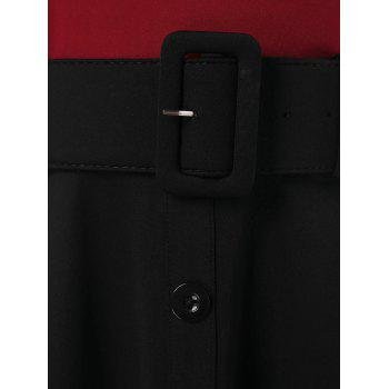 Cap Sleeve Belted Dress with Buttons - RED WINE XL