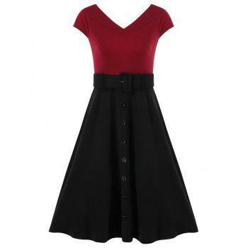 Cap Sleeve Belted Dress with Buttons - RED WINE L