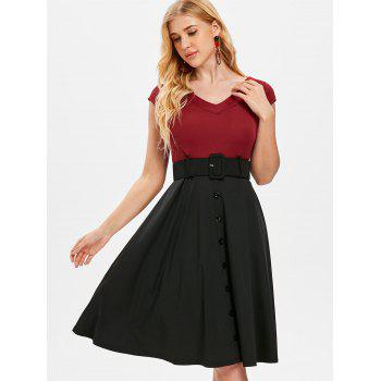 Cap Sleeve Belted Dress with Buttons - RED WINE M