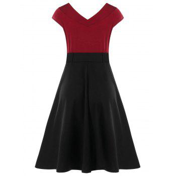 Cap Sleeve Belted Dress with Buttons - RED WINE 2XL