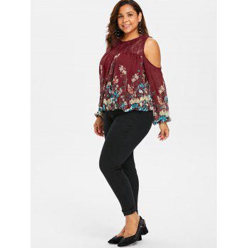 Plus Size Lace Trim Print Sheer Blouse - RED WINE L