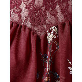 Plus Size Lace Trim Print Sheer Blouse - RED WINE 2X