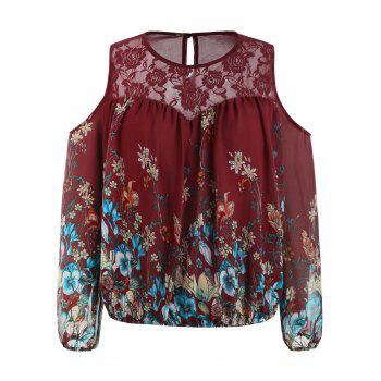 Plus Size Lace Trim Print Sheer Blouse - RED WINE 5X