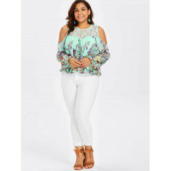 Plus Size Lace Trim Print Sheer Blouse - AQUAMARINE 3X
