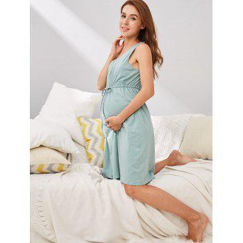 Drawstring Maternity Dress - BLUE GREEN 2XL
