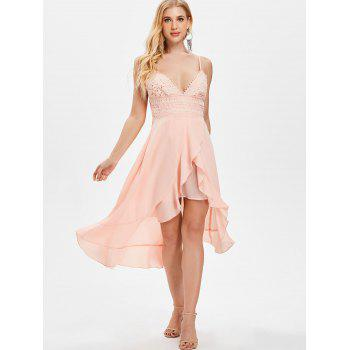 Thin Strap Low Cut Asymmetrical Ruffle Dress - LIGHT PINK 2XL