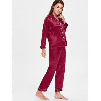 Pocket Satin Nightgown Suit - RED WINE XL