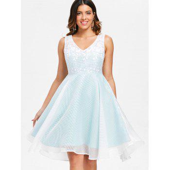 Sleeveless Latticed Mesh Overlay Dress - PALE BLUE LILY L