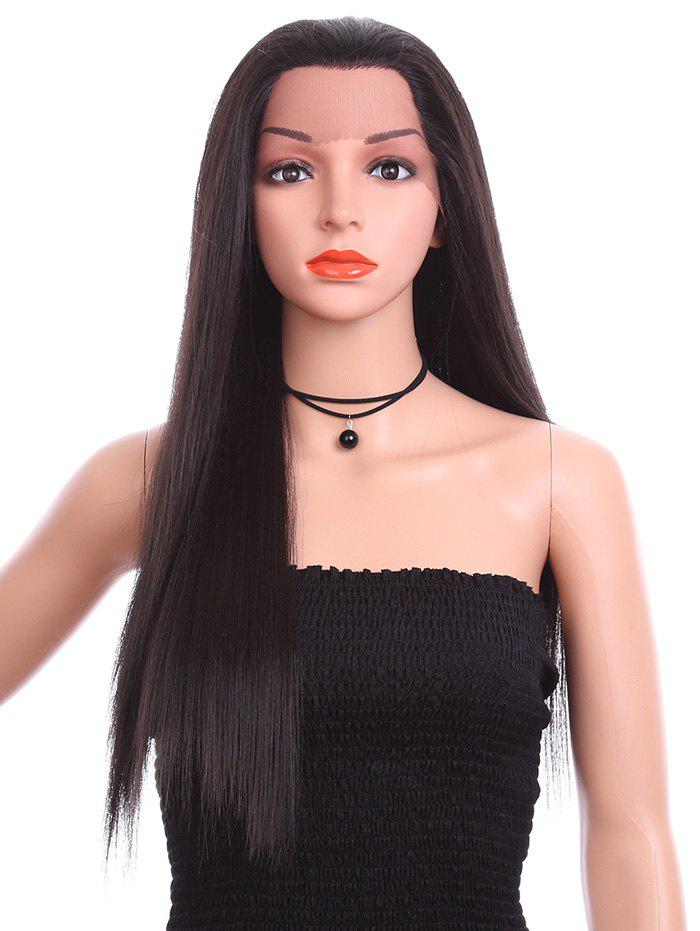 Free Part Long Straight Synthetic Lace Front Wig - NATURAL BLACK 26INCH