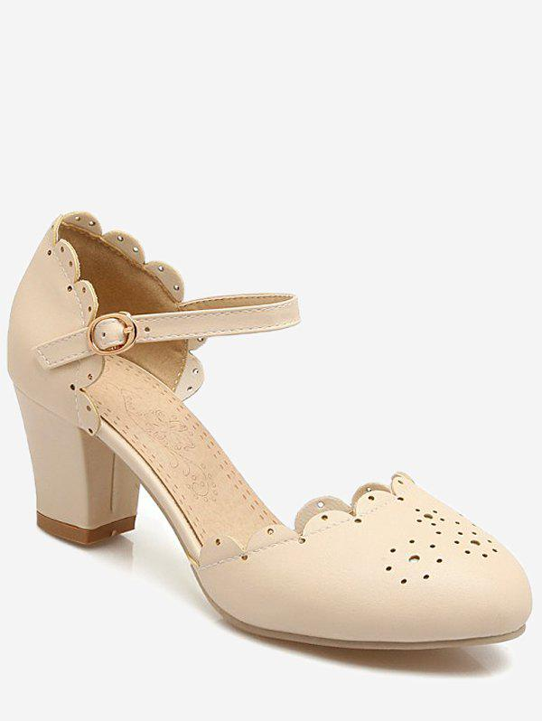 Plus Size Scallop Chunky Heel Ankle Wrap Pumps - BEIGE 38
