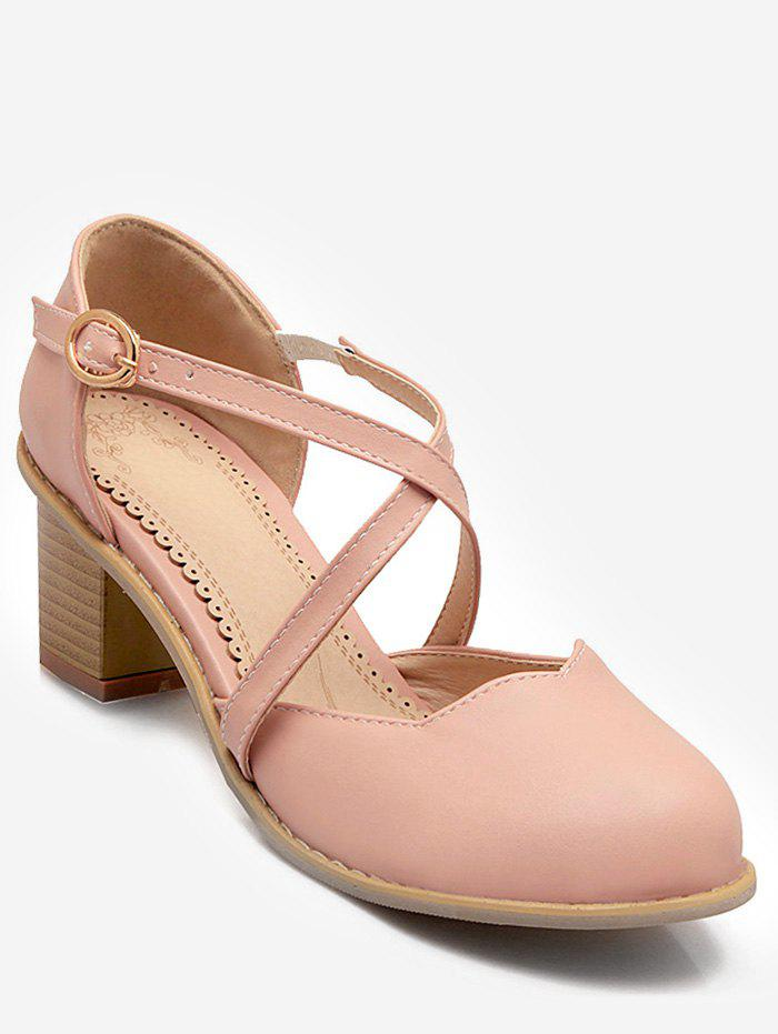 Plus Size Cross Strap Chunky Heel Pumps - PINK 38
