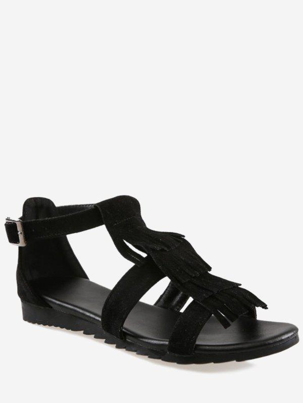 Plus Size Casual Fringes Strappy Sandals - BLACK 37