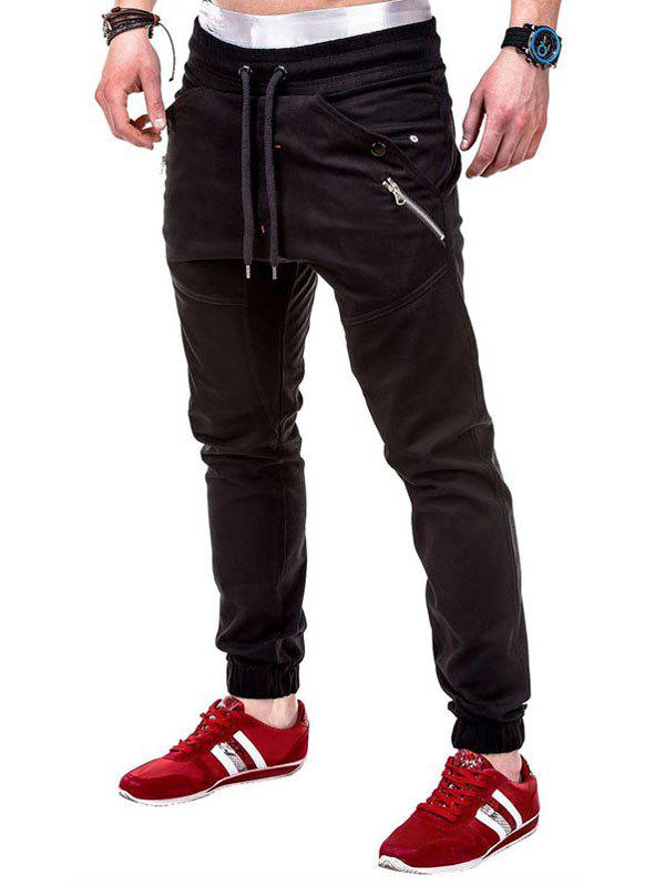 Multi Pocket Waistband Drawsting Casual Jogger Pants - BLACK S