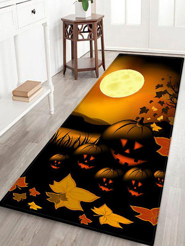 Halloween Night Pumpkin Pattern Anti-skid Flannel Area Rug - DARK ORANGE W16 INCH * L47 INCH