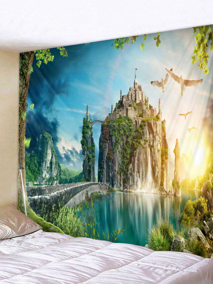 Mountain Top Castle Print Tapestry Wall Art - multicolor W91 INCH * L71 INCH