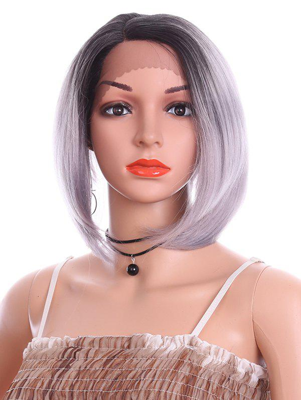 Short Straight Bob Lace Front Heat Resistant Synthetic Wig - PLATINUM 10INCH