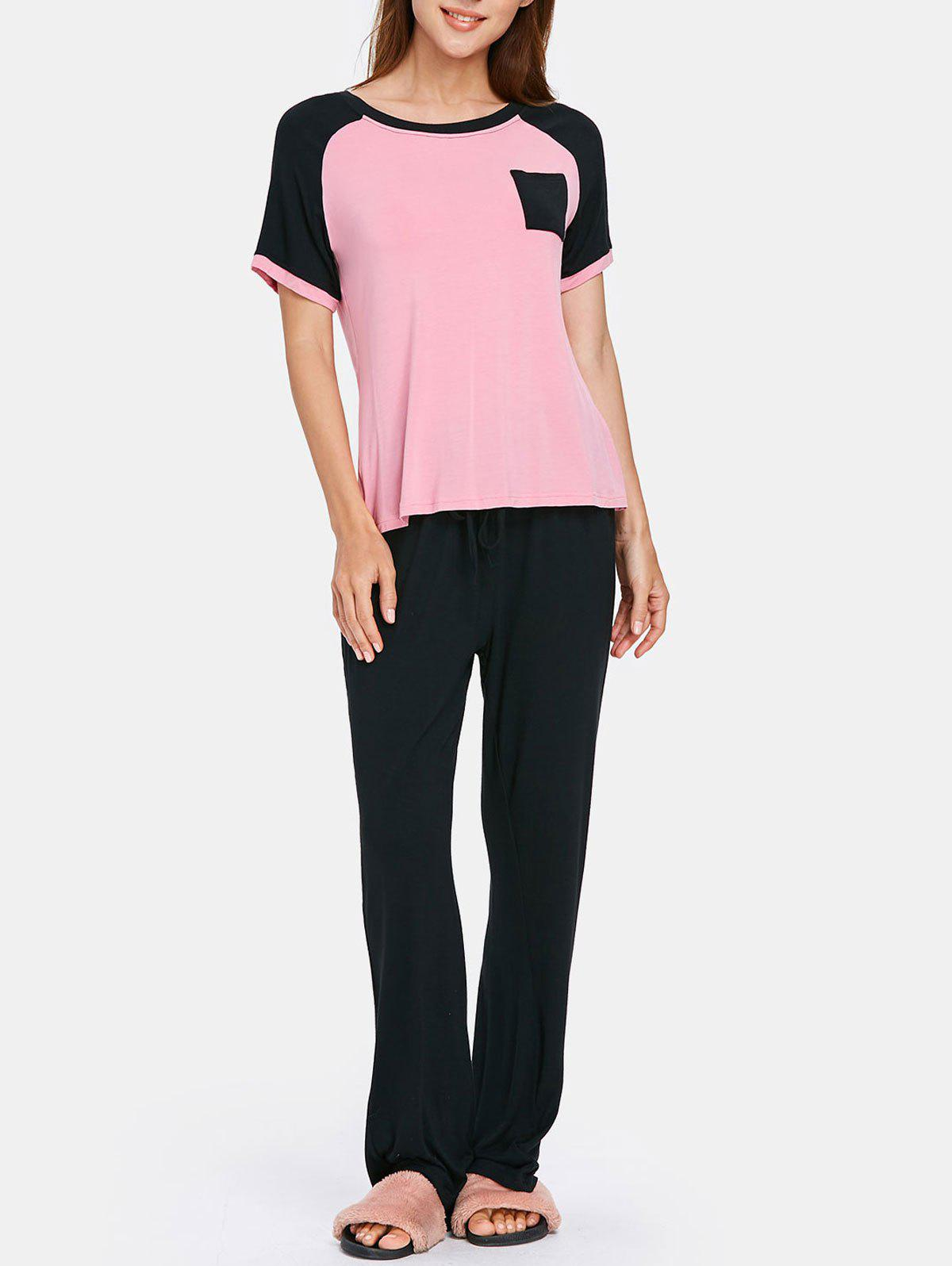 Baseball Tee with Drawstring Pants Pajamas Set - PINK BUBBLEGUM L
