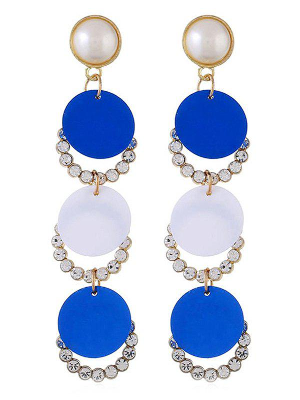 Faux Pearl Round Long Drop Earrings - BLUE