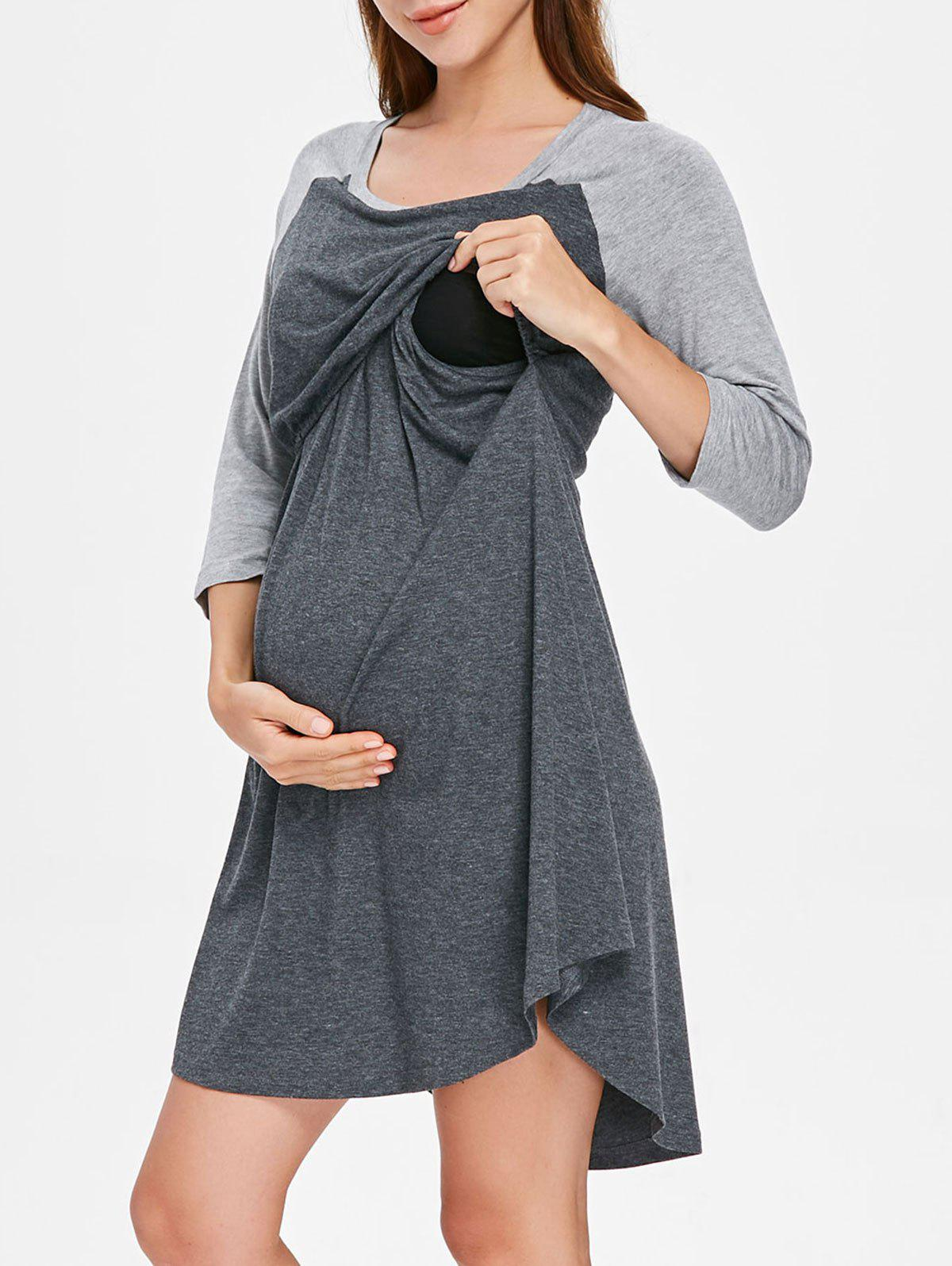 Round Collar Two Tone Maternity Sleep Dress - DARK GRAY M