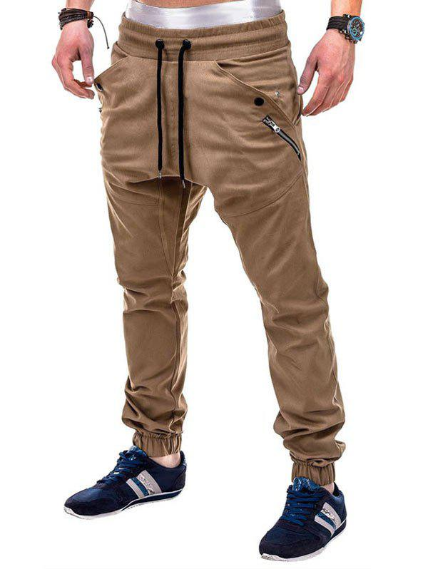 Multi Pocket Waistband Drawsting Casual Jogger Pants - LIGHT KHAKI M