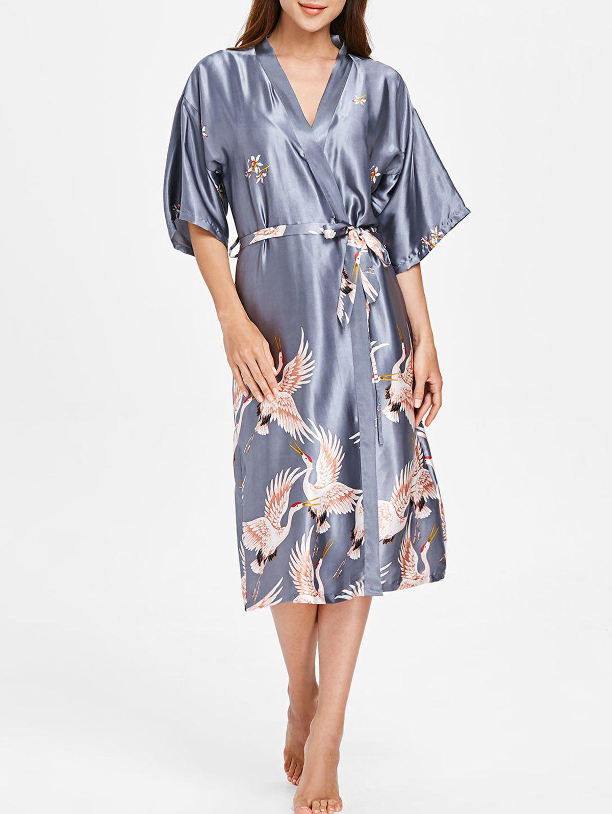 Drop Shoulder Crane Sleeping Robe - BLUE GRAY M