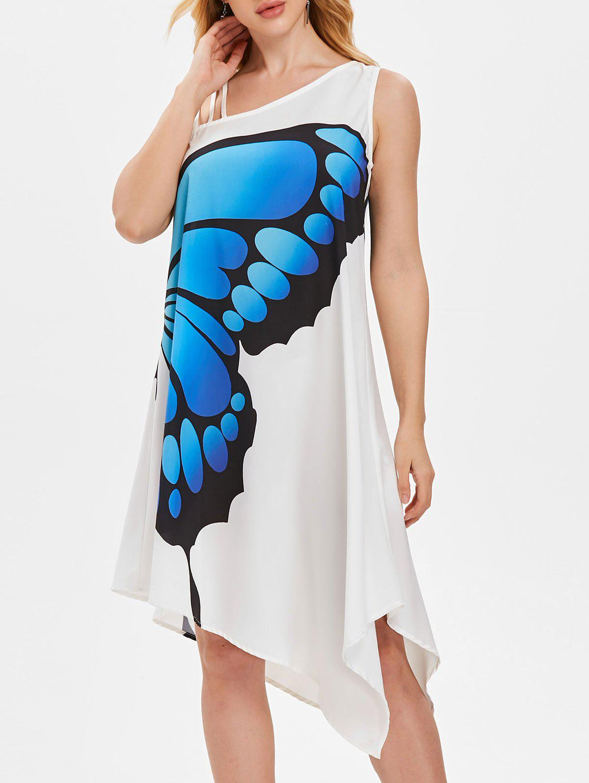 One Shoulder Butterfly Print Swing Dress - WHITE L