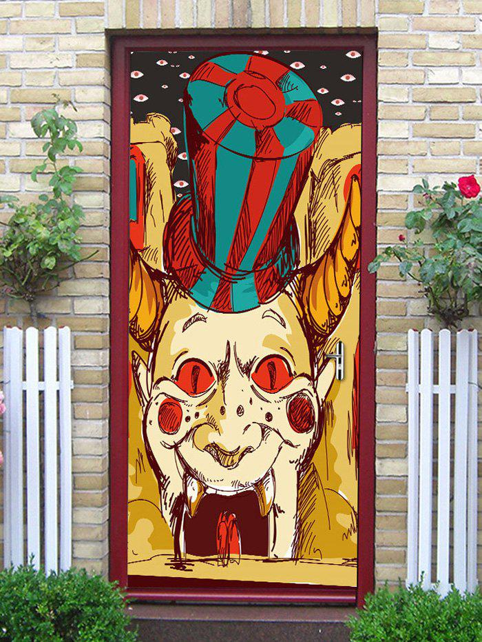 Halloween Clown Printed Door Art Stickers - multicolor 38.5*200CM*2PCS