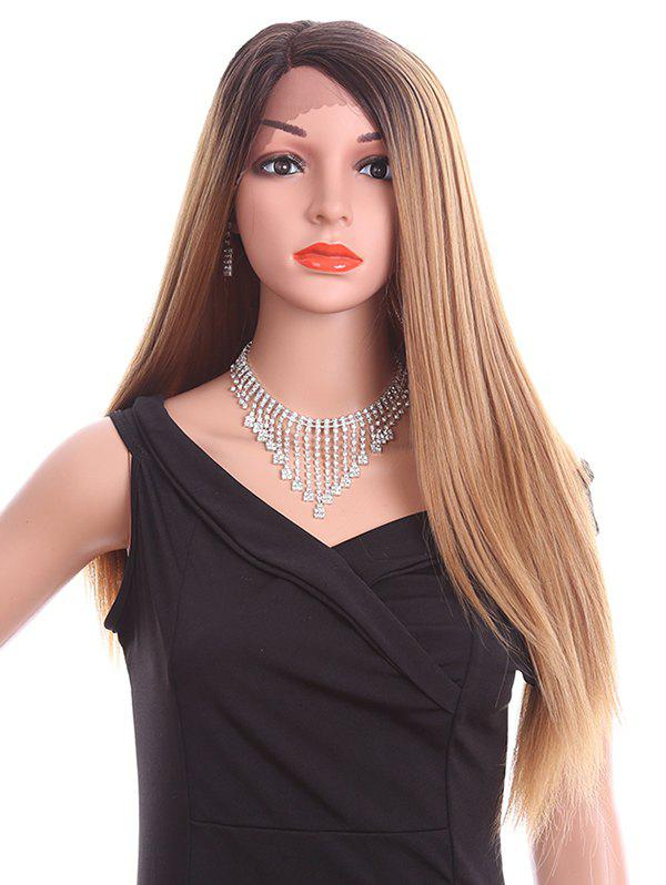 Side Parting Long Straight Party Synthetic Lace Front Wig - LIGHT BROWN 26INCH