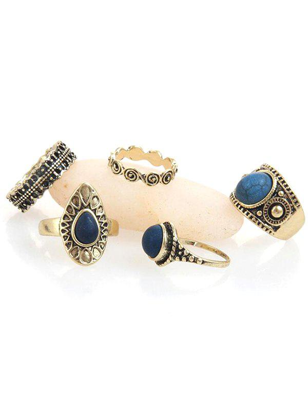 Boho Faux Sapphire Carved Rings Set - GOLD