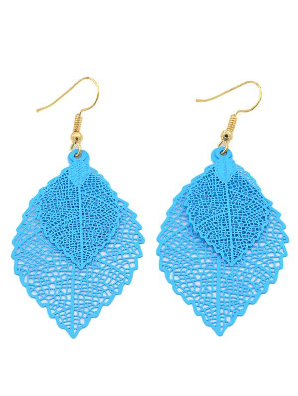Stylish Hollow Out Leaf Drop Earrings - LIGHT BLUE