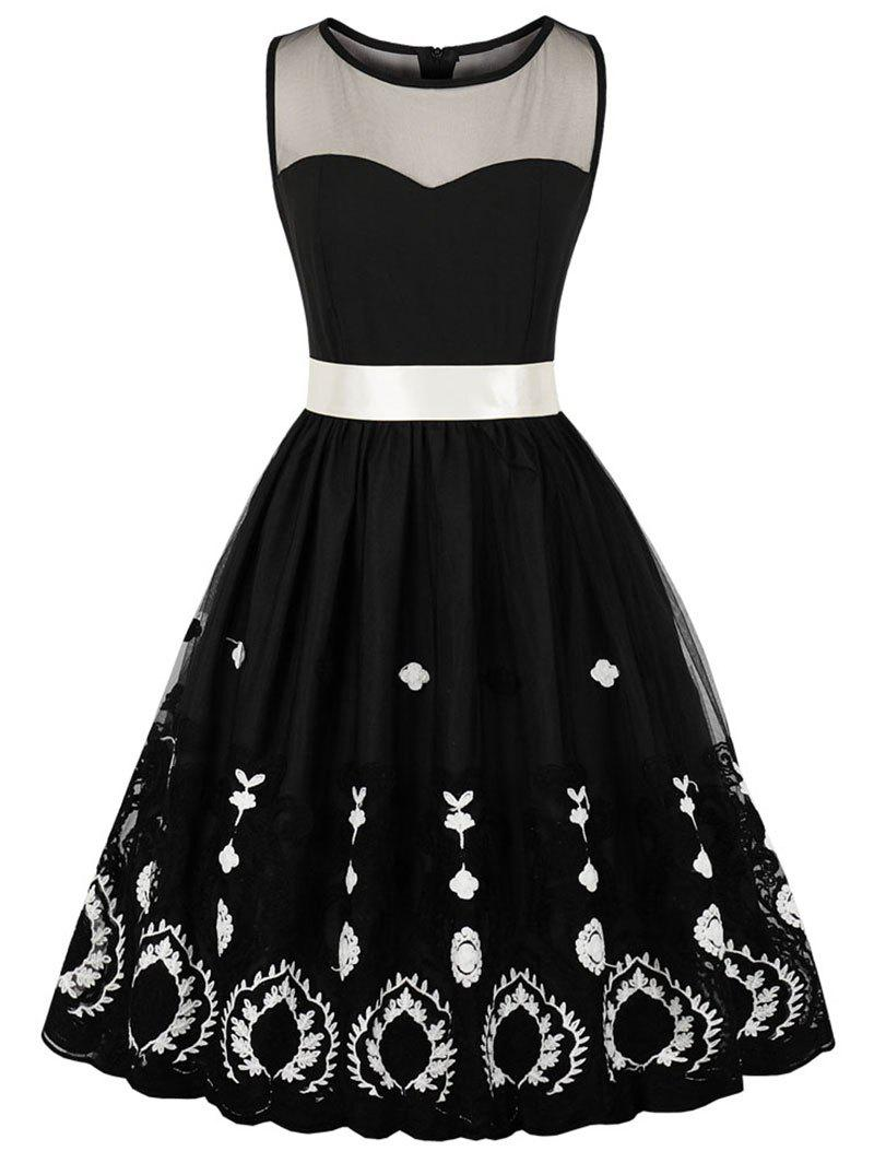 Mesh Insert Embroidered Fit and Flare Dress - BLACK M