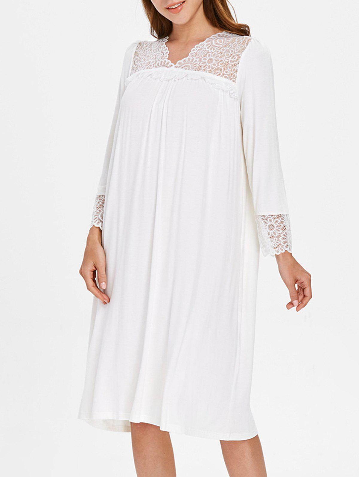 Lace Home Night Dress - CRYSTAL CREAM ONE SIZE