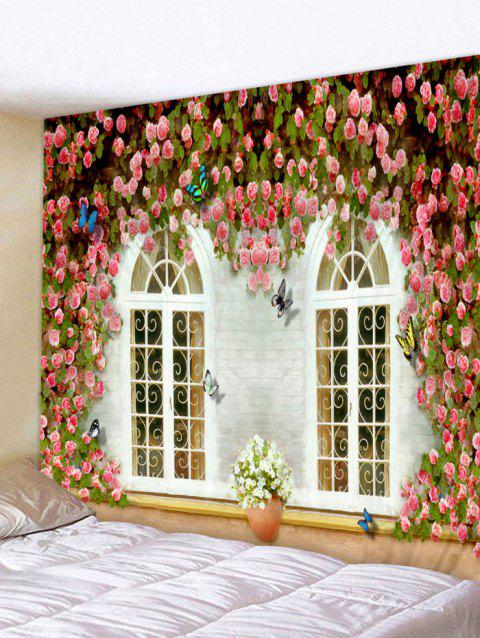 Flowers Windows Printed Tapestry Wall Art - multicolor W59 INCH * L59 INCH