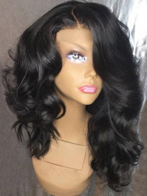 Fluffy Long Side Parting Loose Wave Synthetic Wig - NATURAL BLACK