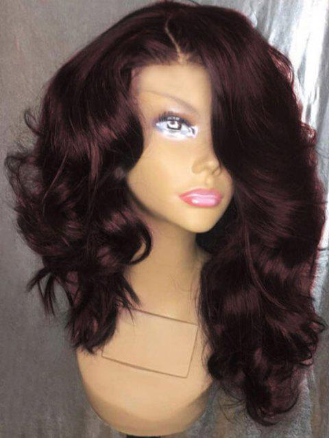 Fluffy Long Side Parting Loose Wave Synthetic Wig - RED WINE