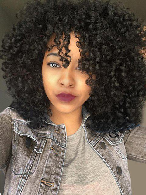 Medium See-through Fringe Fluffy Afro Curly Synthetic Wig - JET BLACK 01