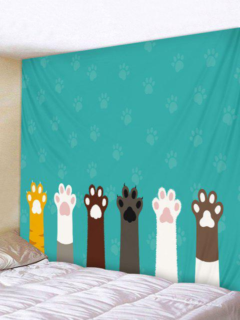 Cat Claw Print Tapestry Wall Decoration - LIGHT SEA GREEN W91 INCH * L71 INCH