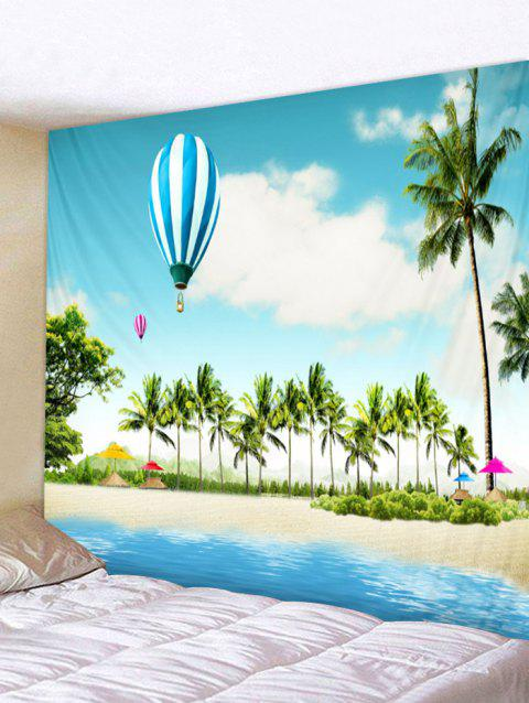 Tropical Coconut Palms Balloon Beach Scenery Print Wall Tapestry - multicolor W91 INCH * L71 INCH