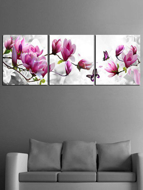 Flowers and Butterfly Print Unframed Canvas Paintings - multicolor 3PC:16*16 INCH( NO FRAME )