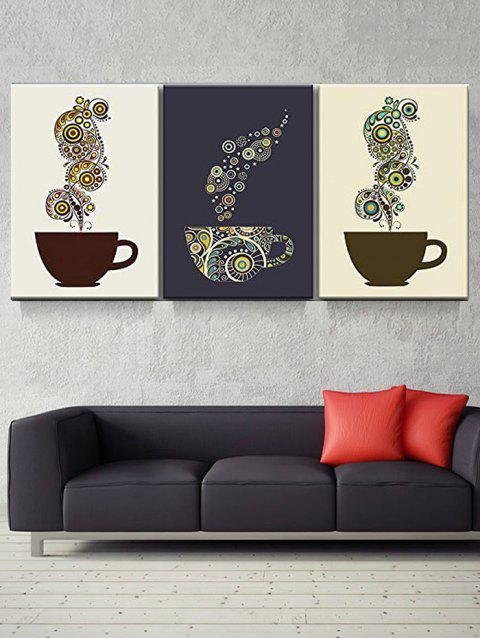 Coffee Cup Print Unframed Canvas Paintings - multicolor 3PC:12*18 INCH( NO FRAME )