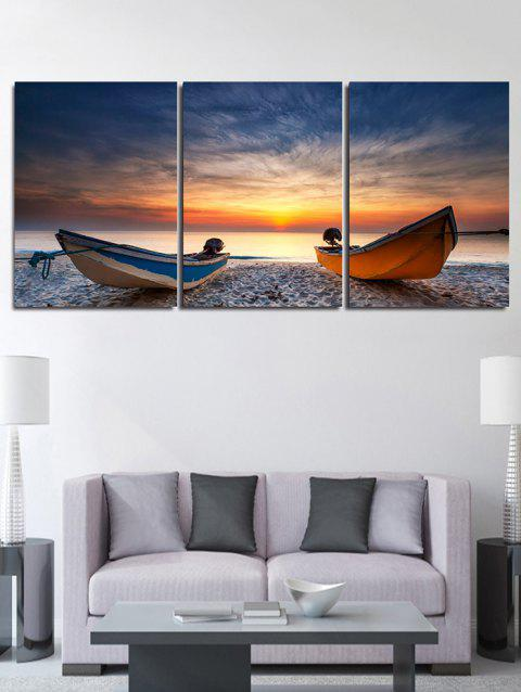 Sunset Beach Boat Print Unframed Canvas Paintings - multicolor 3PC:12*18 INCH( NO FRAME )