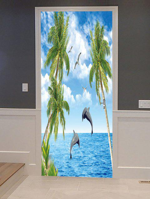 Dolphin Coconut Palm Printed Door Art Stickers - multicolor 38.5*200CM*2PCS