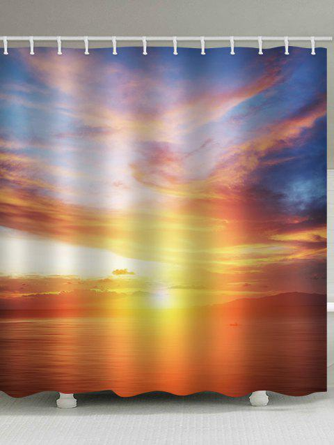 Sunset Sea Print Waterproof Shower Curtain - multicolor W71 INCH * L71 INCH