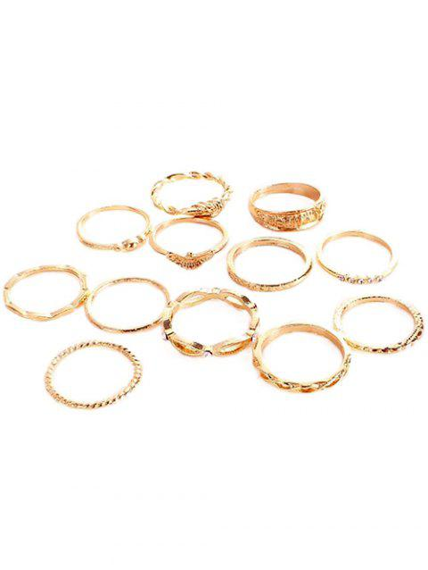 Rhinestone Inlaid Knotted Metal Alloy Rings Set - GOLD