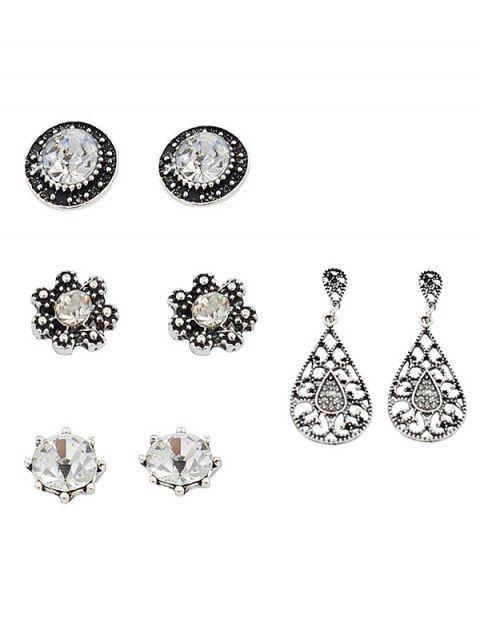 Set of Rhinestone Inlaid Water Drop Floral Earrings - SILVER