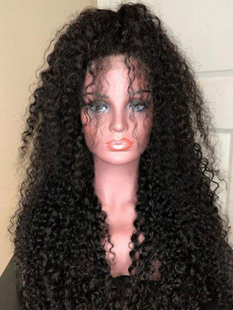 Free Part Curly Long Lace Front Heat Resistant Synthetic Wig - NATURAL BLACK