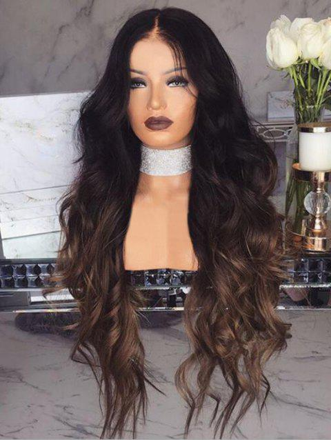 Center Parting Long Wavy Ombre Heat Resistant Synthetic Wig - multicolor